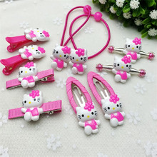 10Pcs/set Fashion Hair Clip Children Girls Flower Kawaii Kitty Headband Cute Barrettes Hair Accessories Kids Hairpins High Ropes(China)