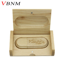 VBNM (over 10 PCS Free LOGO) customized laser engraving wooden+Box pendrive 8GB 16GB 32GB usb Flash Drive for photography gift