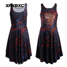 XAXBXC 1024 Fashion Summer Sexy Girl Skater Dress Fire and Blood Dragon Game of Thrones Prints Elastic Vest Women Pleated Dress