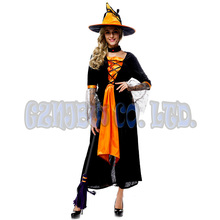 adult quarlity women witch queen Orange Fancy Dress Halloween for women Cosplay Costume party Outfit