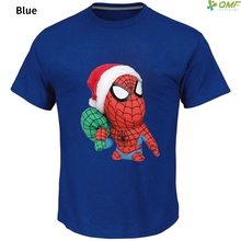 Funny Santa Spider Man T Shirt Fashion Cute Christmas Spiderman T-shirt Happy New Year Cotton T Shirt Men's Tops Casual Tshirt(China)