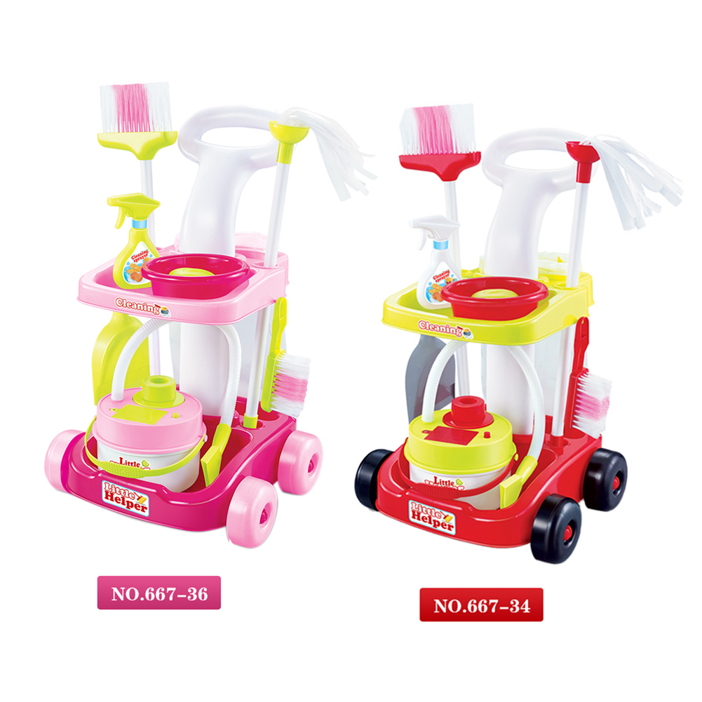 New Arrival Girls play house toys Simulation children cleaning trolley with vacuum cleaner tool hygiene with gift<br>