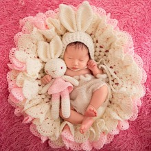 Hand Made Woven Cute Newborn Baby Girls Boys Rabbit Doll Baby Photography Prop Photo Crochet Knit Toy Gifts(China)