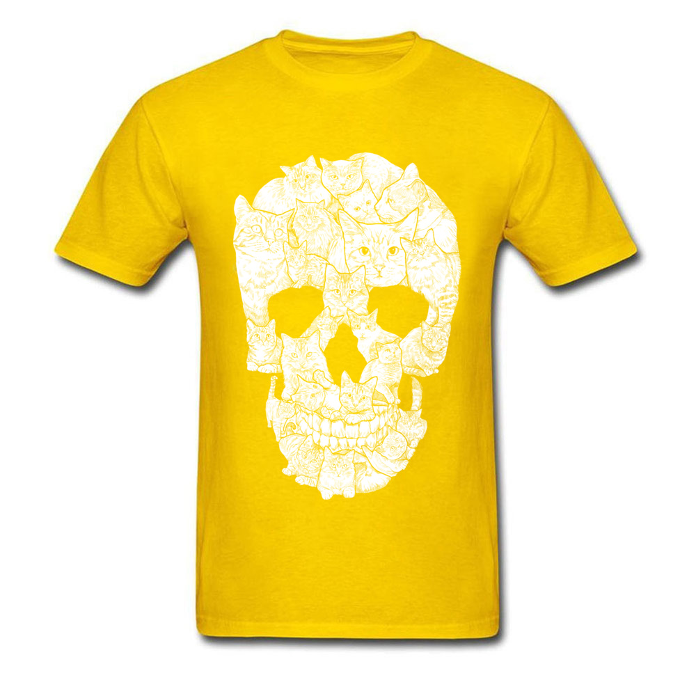 Sketchy Cat Skull Wholesale Short Sleeve Camisa T Shirt 100% Coon O-Neck Men T Shirt Casual Tee-Shirt Summer Autumn Sketchy Cat Skull yellow
