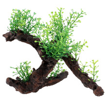 Green Dark Brown Fish Tank Aquarium Driftwood Plastic Tree 5.7 inch