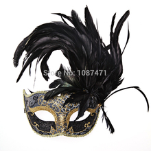 new fashion 2018 Christmas women sexy Half face party masks wedding princess masquerade feather masks ball italian halloween(China)