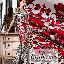 Red flowers Leopard print fashion new arrival elastic sericiculture silk satin dress clothes fabric textile Wholesale/retail(China)