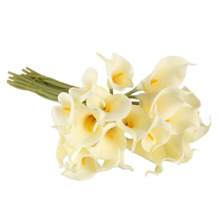 10 Pcs/lot Artificial Flowers 5 Colors Calla Lily Bridal Wedding Decoration Bouquet Head Latex Real Touch Artificial Flower(China)