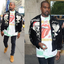 Genuine Streetwear 2016  hip hop clothing men  fleece coat kanye west skull embroidery Silk skull and eagle souvenir jacket