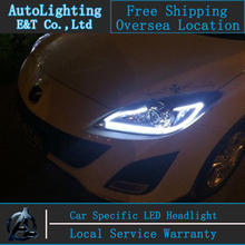 Car Styling For MAZDA 3 headlights 2010-2013 MAZDA3 led headlight drl turn signal drl H7 hid Bi-Xenon Lens low beam(China)