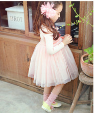 Winter Autumn kids girl clothes tulle tutu princess long sleeve cotton dresses birthday party children thanksgiving pageant