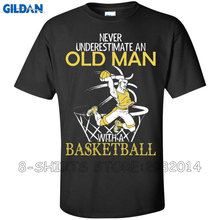 Gildan Cool Tee Shirts Men'S Fashion Crew Neck Never Underestimate An Old Man With A Basketballer Short-Sleeve T Shirts