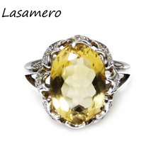 LASAMERO Oval Cut 10*14mm Natural Citrine Engagement Halo Ring 925 Sterling Silver Ring for Women Fine Jewelry