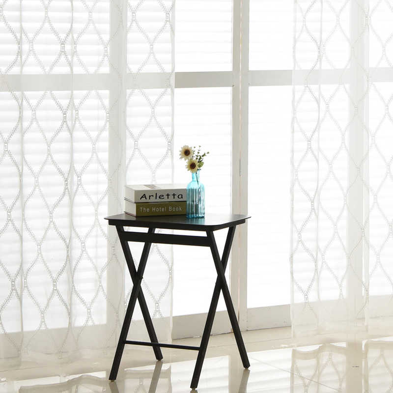 White Sheer Curtains for Living Room Decoration Plaid Embroidered Tulle Fabric Modern Window Curtain