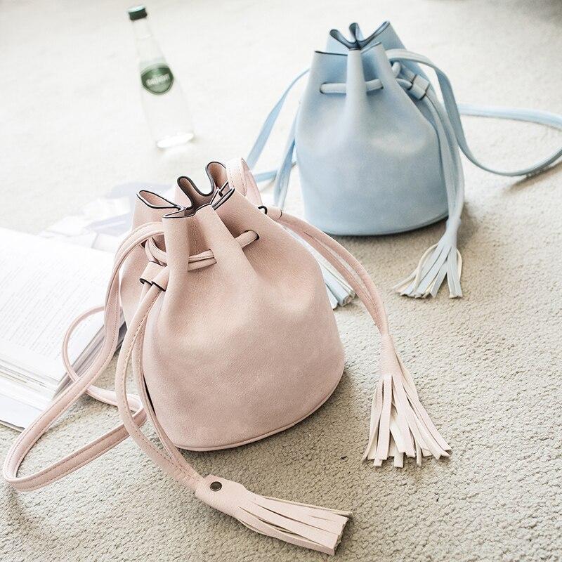MIWIND fashion mini bucket bag candy color messenger shoulder tassel bag small womens handbag  portable y-26589<br><br>Aliexpress