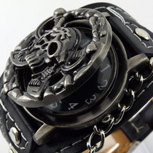 Hot Punk skull head watch men watch fashion vintage personality  flip watches PU leather band  3 Colors