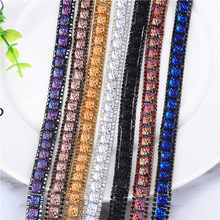 Hotfix Crystal sparking 1Yard lot Rhinestones Chain Trim Bridal Applique  Strass Crystals Mesh Banding iron d2fe0e36da7b