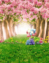 8x12FT Pink Flowers Blossom Trees Tunnel Teddy Bear Green Grass Path Custom Photo Studio Backdrop Background Vinyl 240cm x 360cm