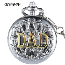 Fashion Japan movt Black Silver DAD pocket fob watches Chain Pendent Mens Watch Father's Day Gifts Vintage Quartz FOB Watches(China)