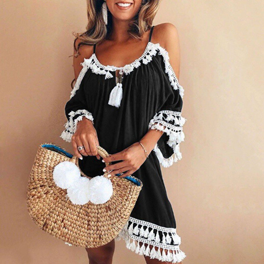 2019 Women casual Dress Women Off Shoulder  Dress Tassel Short Cocktail Party Beach Dresses Sling Sundress Vestidos #YL