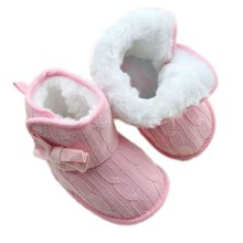 Toddler Knited Winter Faux Fleece Crib Snow Boots Kid Baby Shoes Bowknot Woolen Yam Fur Knit Shoes Firsst WalkersY01