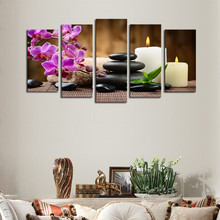 Wholesale Wall Art Canvas painting Unframed 5 Panels Purple Flowers Candle Picture Canvas Print Painting Artwork For Home Decor