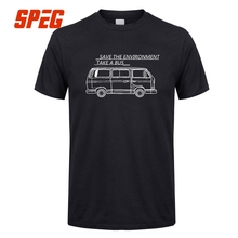 Casual T Shirts Save The Environment Take a Bus VW Bus Crew Neck Short Sleeve T-Shirt Funny 3XL Price Men's Humorous Tees Design(China)