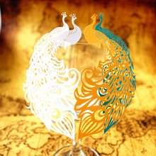50pcs Peacock Laser Cut Wine Glass Card Name Place Escort Cup Cards Wedding Baby Shower Birthday Party Christmas Decorations