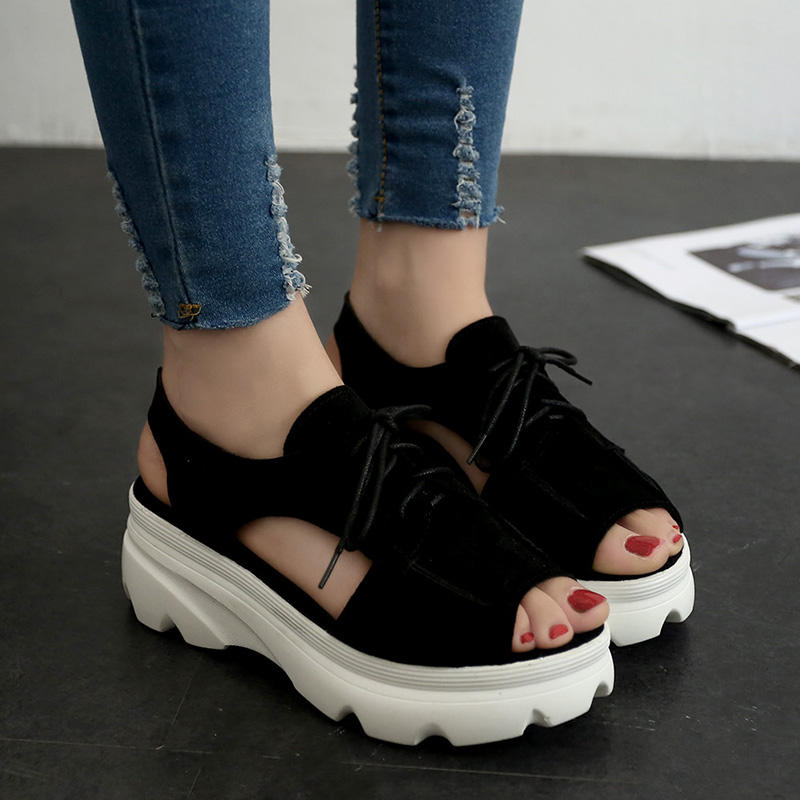 Nice New Women Sandals Lacing Elevator Shoes Women Spring And Summer Paltform Shoes Open Toe Sandals Women Casual Shoes Thick<br>