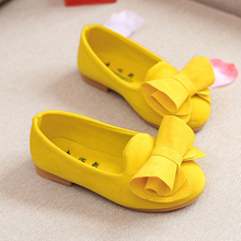 Children Suede Shoes For Princess Girls Sandals Flower Girls Loafers Toddler Girls Party Flat Shoes With Bows Children Footwear(China)