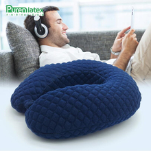 PurenLatex 30*30*12 Simple Design Cervical Memory Foam U Shape Travel Pillow Office Cushion Breathable Grid  Neck Chin Support