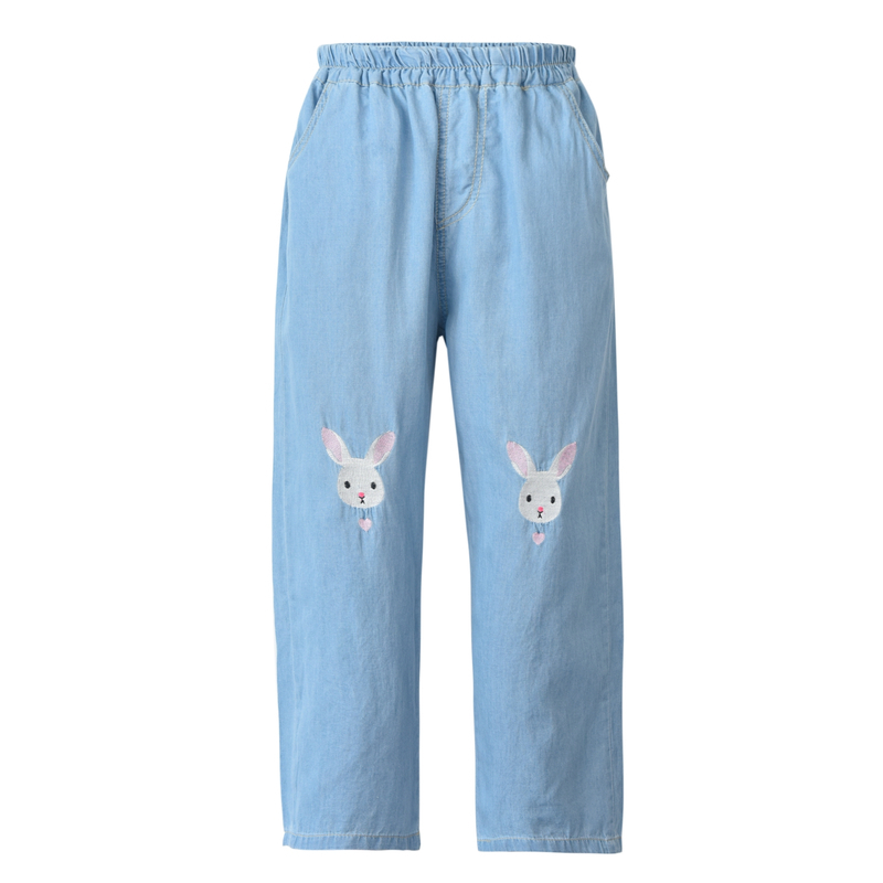 Light Blue Deep Blue Kawaii Bunny Embroidery Jeans Pants Women Summer Casual Straight Pants With Pockets Fashion Ninth Pants5