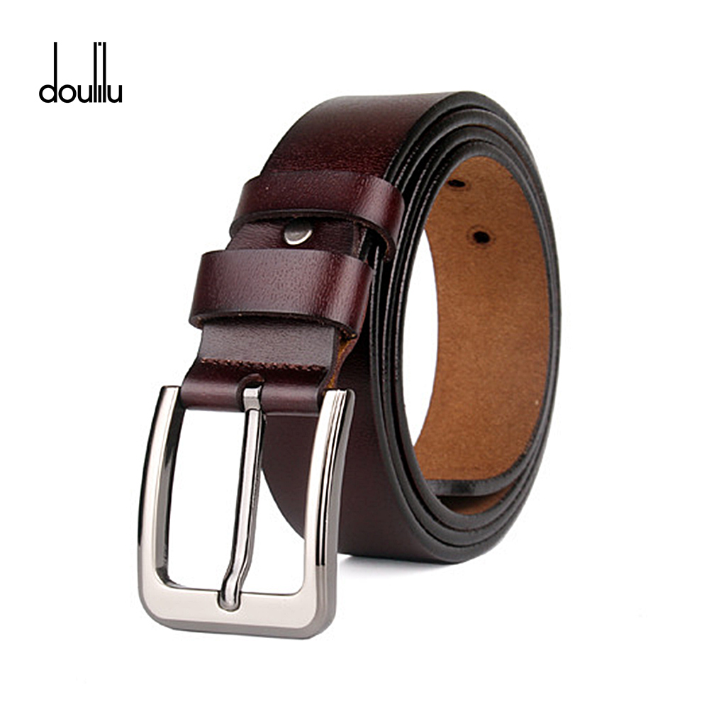 Man's Black brown Leather Belt Large Genuine Leather Belt Waist Needle Metal Buckle Strap cinturon hombre Cowhide 150cm belts