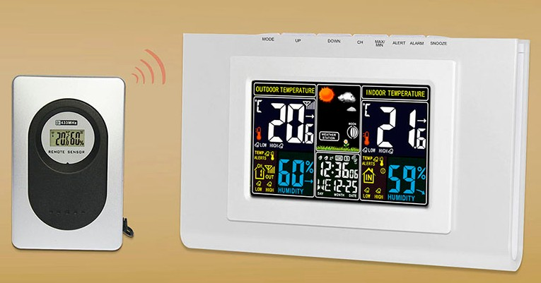 wireless weather station Tester Colorful LCD Digital Thermometer Hygrometer Clock Alarm Snooze Calendar Forecast Display 50% off<br><br>Aliexpress