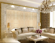 3d wallpaper High-end custom mural non-woven wall sticker Puzzle Spain beige marble texture 3d wall room mural wallpaper