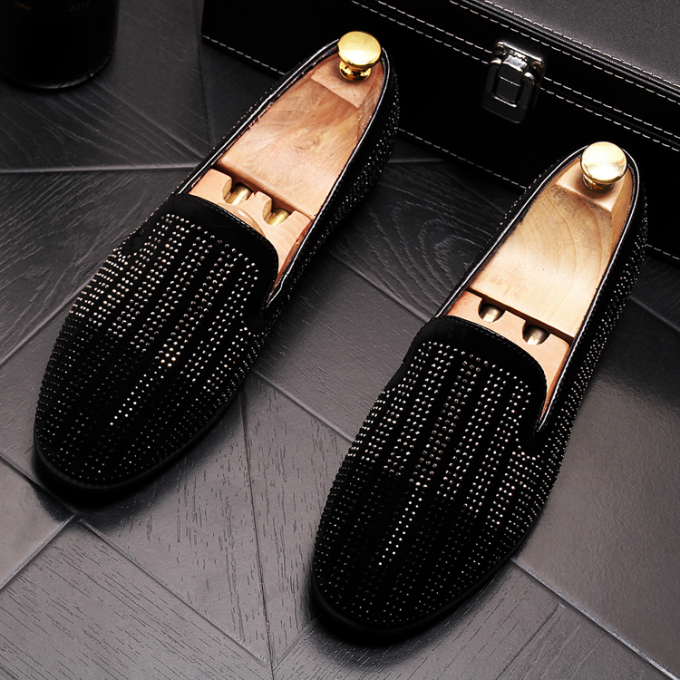2019 New Gradient Striped Rhinestones Loafers shoes SmokingSlippers Dress Wedding Party Flats Casual Moccasins shoe 42 Online shopping Bangladesh
