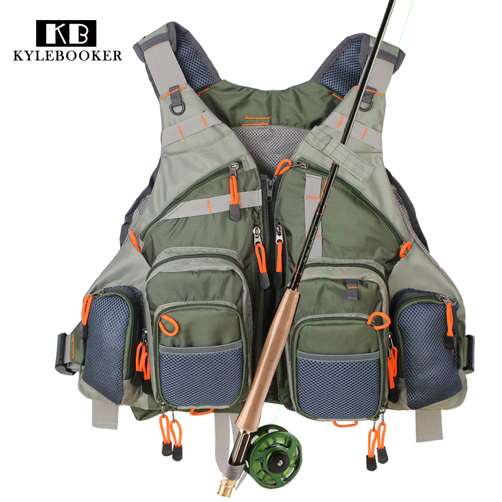 Army Green Fishing Vest General Size Multi Function Adjustable Mesh Vest With Mutil-Pocket Outdoor Fly Fishing Vest<br>