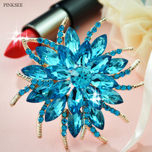 PINKSEE Flower Brooches Bouquet European Style Clear Rhinestone Wedding Bridal Apparel Accessories Jewelry Store New Arrival(China)