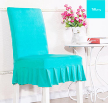 Tiffany colour lycra chair cover with skirt all around the chair half style spandex chair cover wedding party home decoration