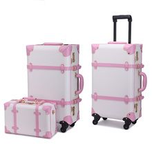 Letrend Vintage Student Rolling Luggage Set Spinner Retro Leather Suitcase Wheels Cabin Trolley Travel Bag Women Password Trunk(China)