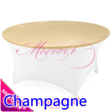 Champagne spandex tablecloth table cover fit for 5ft-6ft round tables,lycra top cover for wedding,banquet and party decoration