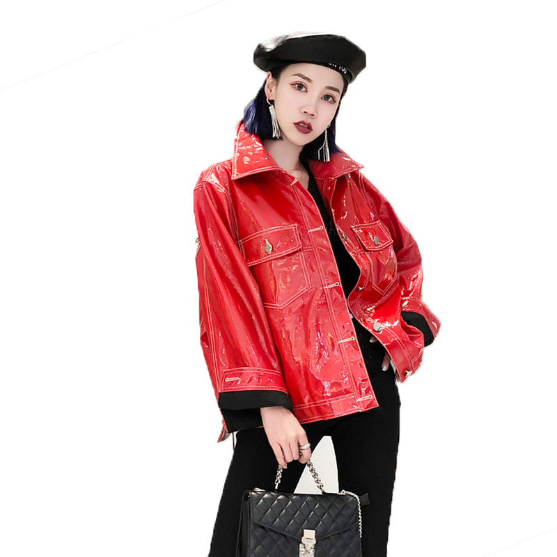 Fashion brand Patent leather jacket female Glossy fabric pu leather embroidery Basic jackets coat with pockets women Streetwear