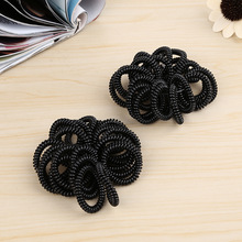 20 Pcs/Lot New Fashion Telephone Line Cord Bobble Traceless Rubber Bands Black Gum Tie Elastic Hair Bands Girl's Hair Scrunchy