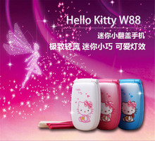 Cute Hello Kitty Flip Cell Phone W88 Luxury Rhinestone Music Flash Light Mini Girl Lady Children Kids Mobile Phone Best Gift