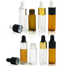 50/ lot 5ML Clear Glass Dropper Bottle, 5 ML serum Vial, 5ml Cosmetic Packaging, Sample Display Container(China)