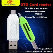 wholesale promotion 2 1 TF SD card reader OTG SD card reader OTG USB2.0 card reader pc smart phone