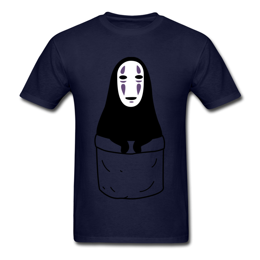 Mens Tops Shirts Kaonashi in a pocket Newest Printed On T-shirts 100% Cotton Short Sleeve Funny Sweatshirts Round Neck Kaonashi in a pocket navy