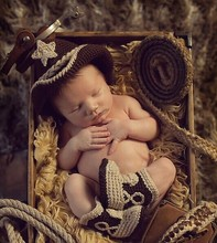 Crochet Baby Cowboy Hat and Boots Set Newborn Fotografia Photo Props Handmade Knitted Toldder Cow Boy Hat and Bootie