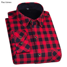 PaulJones Plus Size 8XL Winter Mens Plaid Thermal Shirts Long Sleeve Warm Red and Black Printed Male Shirts Velvet 7XL 6XL 5XL(China)