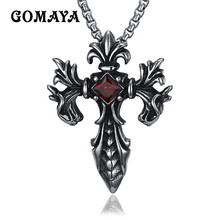 GOMAYA Cross Pendant Necklace Men's Crucifix Jewelry Stainless Steel Vintage Necklaces for Male Collier(China)